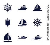 yacht icons set. set of 9 yacht ... | Shutterstock .eps vector #638960722