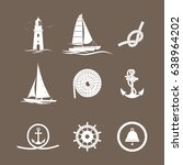 marine icons yacht  lighthouse  ... | Shutterstock .eps vector #638964202