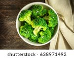 a bowl of cooked green broccoli ... | Shutterstock . vector #638971492