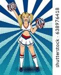 cheerleader girl with pompoms... | Shutterstock .eps vector #638976418