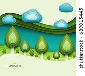 paper cut cartoon nature... | Shutterstock .eps vector #639015445