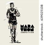 marathon. runner. sketch style... | Shutterstock .eps vector #639025108