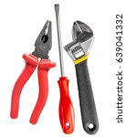 Small photo of Tool set of wrench, adjustable spanner, pliers and screwdriver