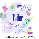 vector set of sewing tools ... | Shutterstock .eps vector #639044245