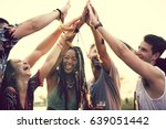 friends hands together unity at ... | Shutterstock . vector #639051442