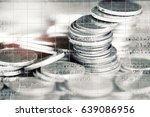 double exposure of stack of... | Shutterstock . vector #639086956