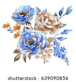 watercolor floral abstract... | Shutterstock . vector #639090856