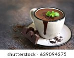 portion of homemade mint hot... | Shutterstock . vector #639094375