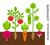 cute vegetables with smiling... | Shutterstock . vector #639096898