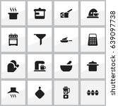 set of 16 editable cook icons.... | Shutterstock .eps vector #639097738