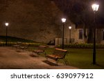 benches under lamps | Shutterstock . vector #639097912