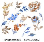 watercolor set with abstract... | Shutterstock . vector #639108052