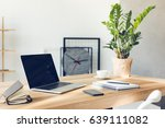 design of workplace in home... | Shutterstock . vector #639111082