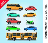 city transport set flat... | Shutterstock .eps vector #639123706