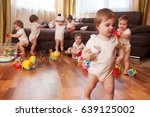 child scattered toys. mess in... | Shutterstock . vector #639125002