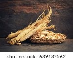 korean dry ginseng roots on... | Shutterstock . vector #639132562