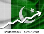 White arrow up on the flag of Pakistan or Islamic Republic of Pakistan as background