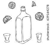 whiskey cognac or brandy bottle ...   Shutterstock .eps vector #639164278
