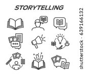 storytelling icon set with... | Shutterstock .eps vector #639166132