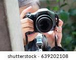 cute small girl with the camera ... | Shutterstock . vector #639202108