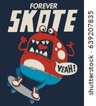 cute monster skateboarder | Shutterstock .eps vector #639207835