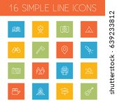 set of 16 camping outline icons ... | Shutterstock .eps vector #639233812