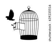 monochrome bird silhouette... | Shutterstock .eps vector #639235516