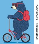 cute bear on bicycle. vector t...