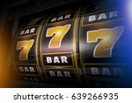 Stock photo slot machine concept d illustration golden sevens and bars black vegas style slots 639266935