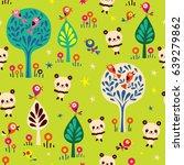 panda bears in forest seamless...   Shutterstock .eps vector #639279862
