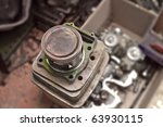 motorcycle engine parts - stock photo