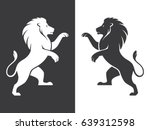 Stock vector two heraldic rampant lion silhouettes in black and white colors coat of arms heraldry logo design 639312598