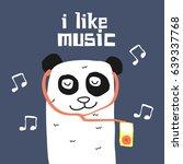 awesome retro cute panda design ... | Shutterstock .eps vector #639337768