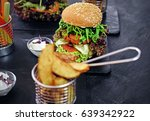 delicious burger  fries with... | Shutterstock . vector #639342922