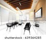 sketch design of study room ... | Shutterstock . vector #639364285