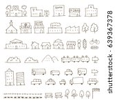 map elements sketch icon set ... | Shutterstock .eps vector #639367378
