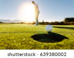 Pro Golfer Putting Golf Ball I...