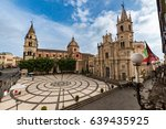 view of the main piazza of acireale with old church in Baroque