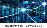 white and blue abstract network ... | Shutterstock . vector #639436198