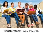group of multi ethnic students... | Shutterstock . vector #639447346