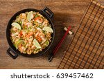 fried rice with shrimp in thai. ... | Shutterstock . vector #639457462