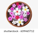 white plumeria and pink flowers ... | Shutterstock . vector #639465712