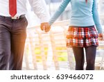 romantic couple holding hands... | Shutterstock . vector #639466072