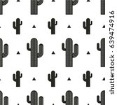 seamless cactus pattern vector... | Shutterstock .eps vector #639474916