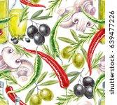 watercolor italian food... | Shutterstock . vector #639477226