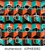 pattern of coffee shop with... | Shutterstock .eps vector #639483082