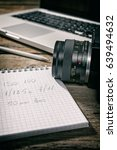 closeup of a written notebook... | Shutterstock . vector #639494632