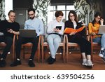 group of modern hipster friends ... | Shutterstock . vector #639504256