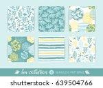 set of trendy sea seamless ... | Shutterstock .eps vector #639504766