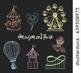 amusement park hand drawn... | Shutterstock .eps vector #639508975